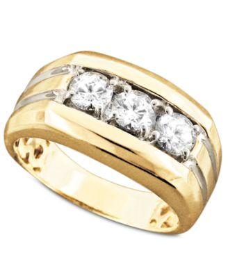 Mens 14k Gold Ring Diamond Three Stone 1 Ct Tw