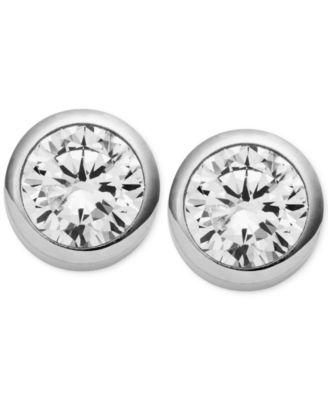 Michael Kors Crystal Bezel Stud Earrings
