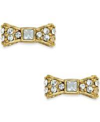 kate spade new york 12k Gold-Plated Pav Bow Stud Earrings ...