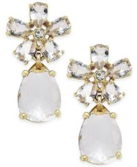 kate spade new york Gold-Tone White Crystal Drop Earrings ...
