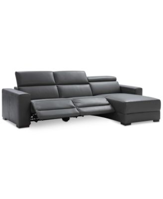sofa w chaise seats for toddlers furniture nevio 3 pc leather sectional with 2 power recliners and articulating headrests