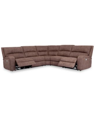 macys kitchen aid virtual remodel brant 5-pc. fabric sectional sofa with 2 power recliners ...