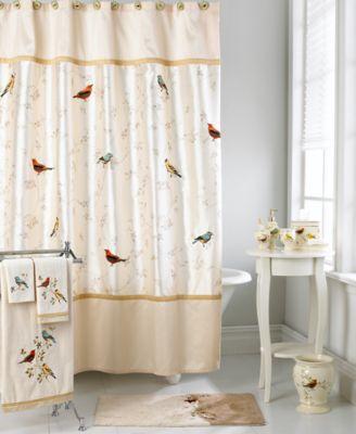 Avanti Bath Accessories Gilded Birds Shower Curtain