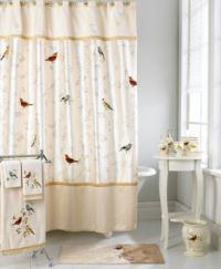 Avanti Bath Accessories, Gilded Birds Shower Curtain ...