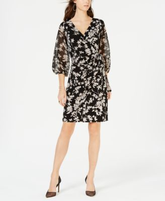 balloon sleeve faux wrap dress created for macy   also womens inc international concepts clothing rh macys