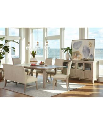 dining set with bench and chairs wooden desk chair kitchen room sets macy s parker furniture 6 pc table 4 side