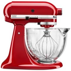 Macys Kitchen Aid Standard Size Cabinets Kitchenaid Ksm105gbc 5 Qt Stand Mixer With Glass Bowl Flex Edge Beater