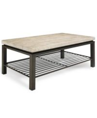Tempo Travertine Top Rectangular Coffee Table - Furniture ...