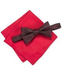 Alfani Men's Venus Neat Bow Tie & Solid Pocket Square Set ...