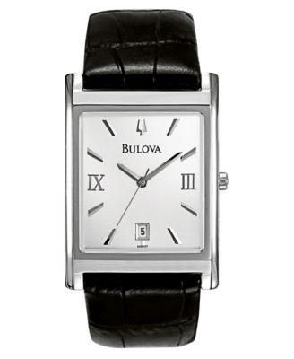 Bulova Mens Black Leather Strap Watch 45mm 96B107