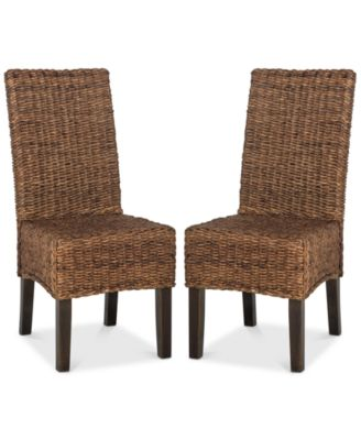 safavieh dining chairs black and cream koure set of 2 wicker quick ship furniture main image