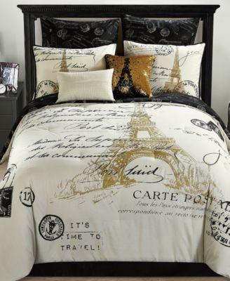 Paris Reversible 8Pc Gold Comforter Sets  Bed in a Bag