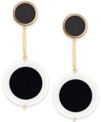 kate spade new york Gold-Tone Black Circle Drop Earrings ...