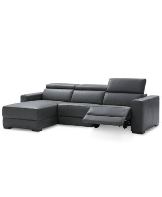 sectional sofas recliners willow and hall sofa bed reviews furniture nevio 3 pc leather with chaise 1 power recliner articulating headrests