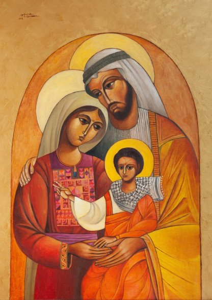 Palestinian Family - Sliman Mansour