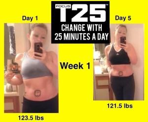 Focus T25 workout program Week 1 results