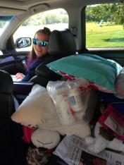 Justina, packed and waiting to head home.