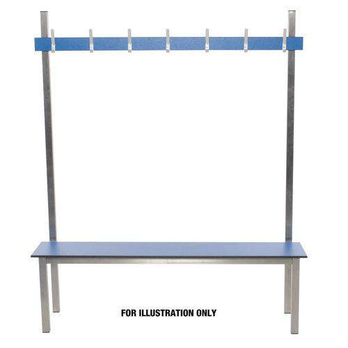 Aqua Solo Cloakroom Bench Blue 2000Mm Wide X 400 Deep With