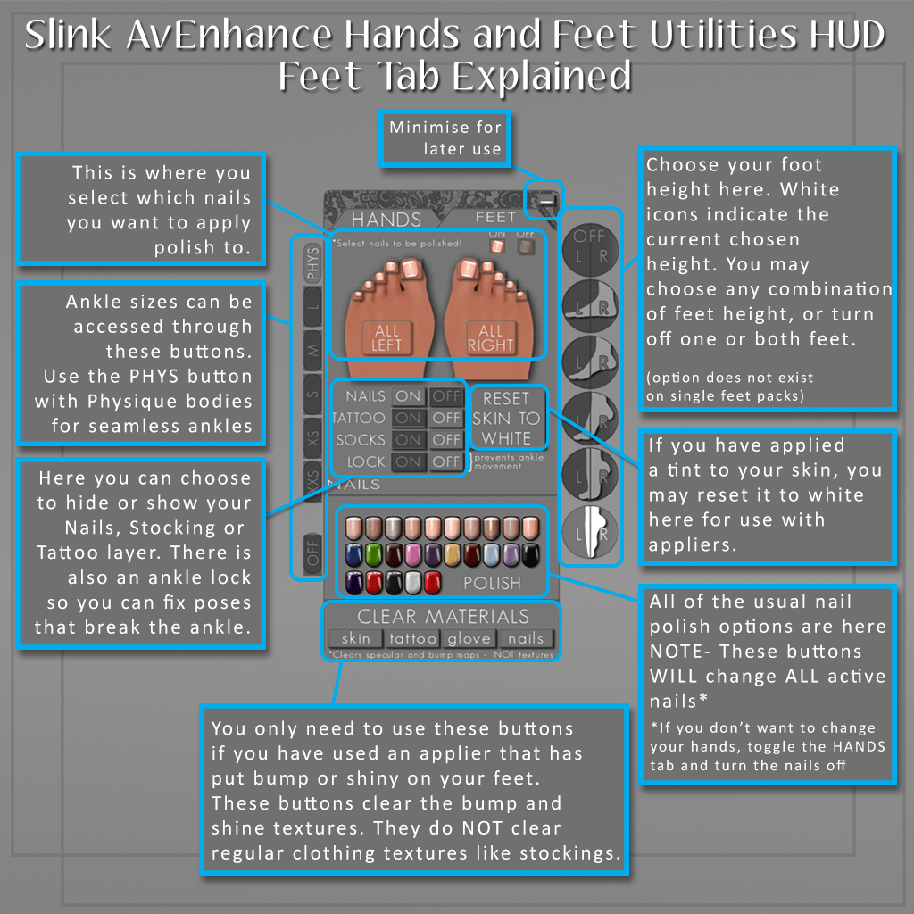 Slink Hands and Feet Utils HUD Feet Tab Guide