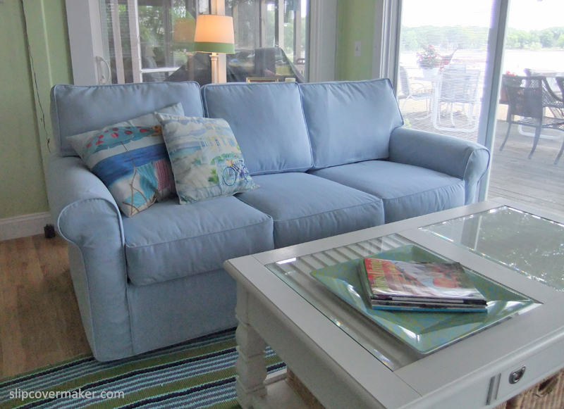 blue cotton twill sofa slipcover by The Slipcover Maker
