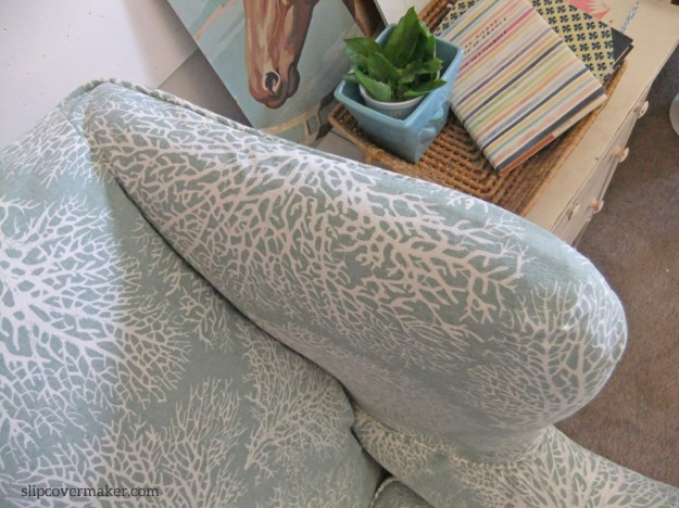 Coral Print Slipcover Close Up by Karen Powell