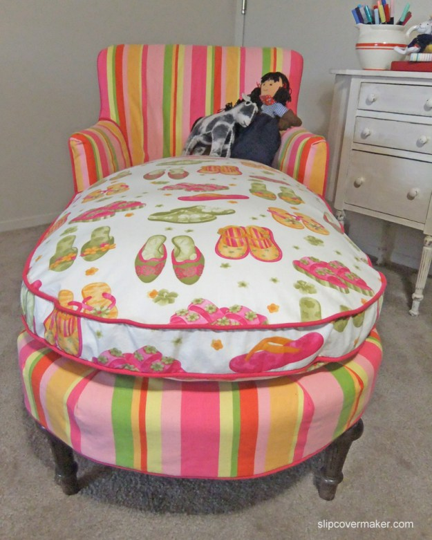 Pink Stripe and Shoe Slipcover by Karen Powell