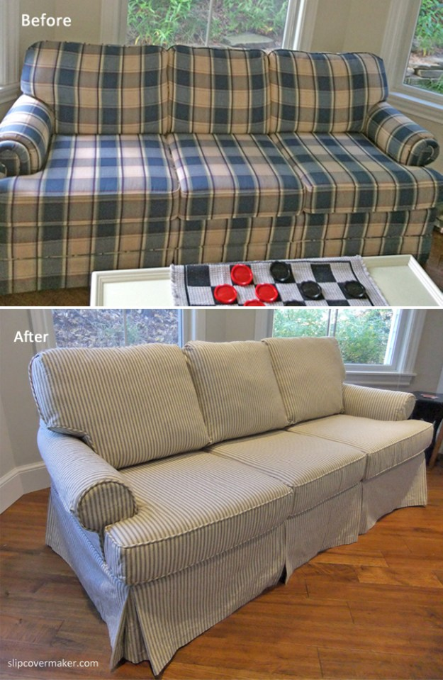 Ticking Stripe Slipcover Before and After