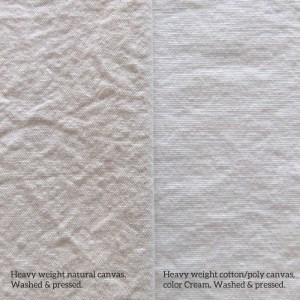 Cotton canvas compared to cotton poly canvas.