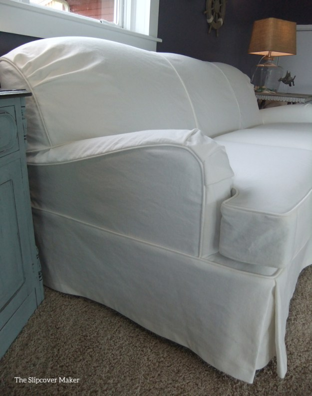 White Denim Slipcover for English Arm Sofa