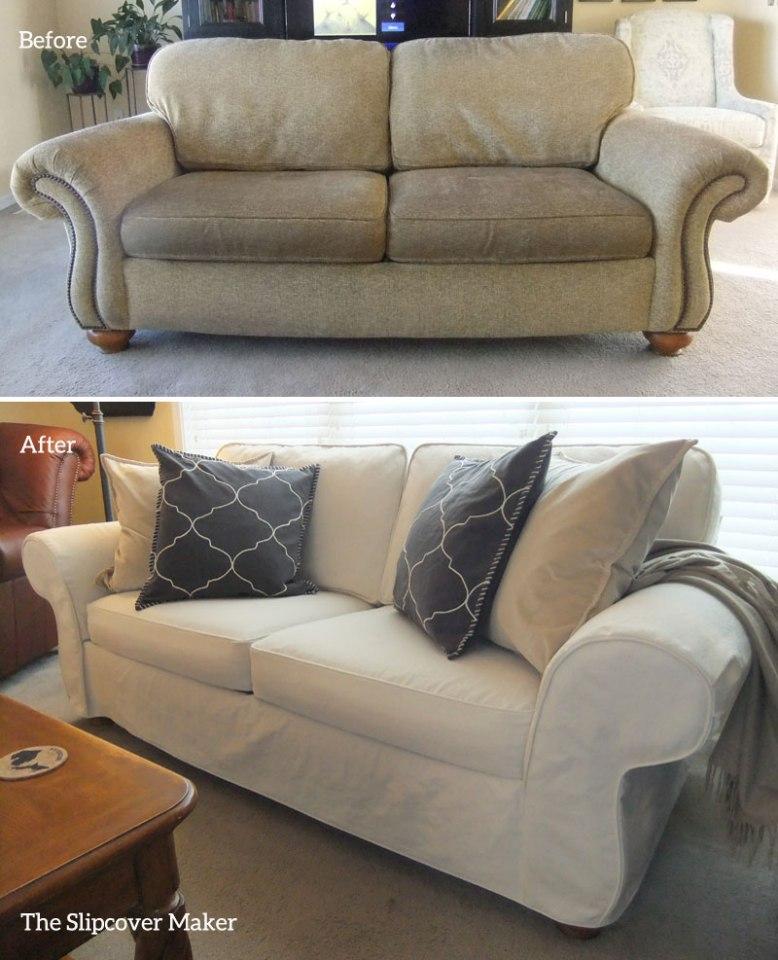 Natural Denim Slipcover for Flexsteel Sofa