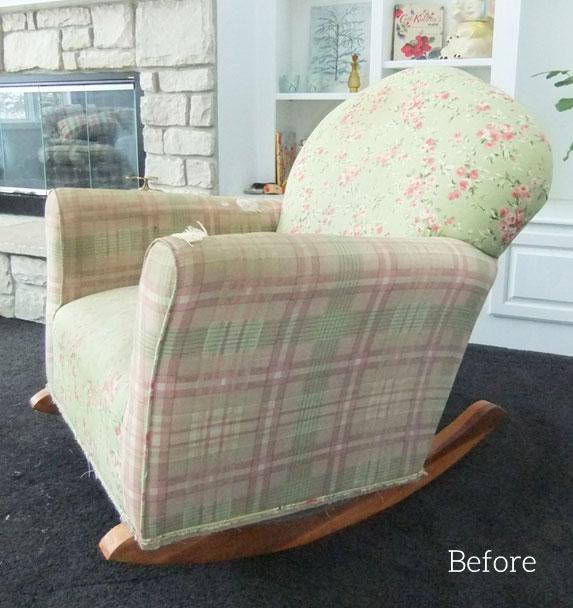 Old, worn rocking chair.