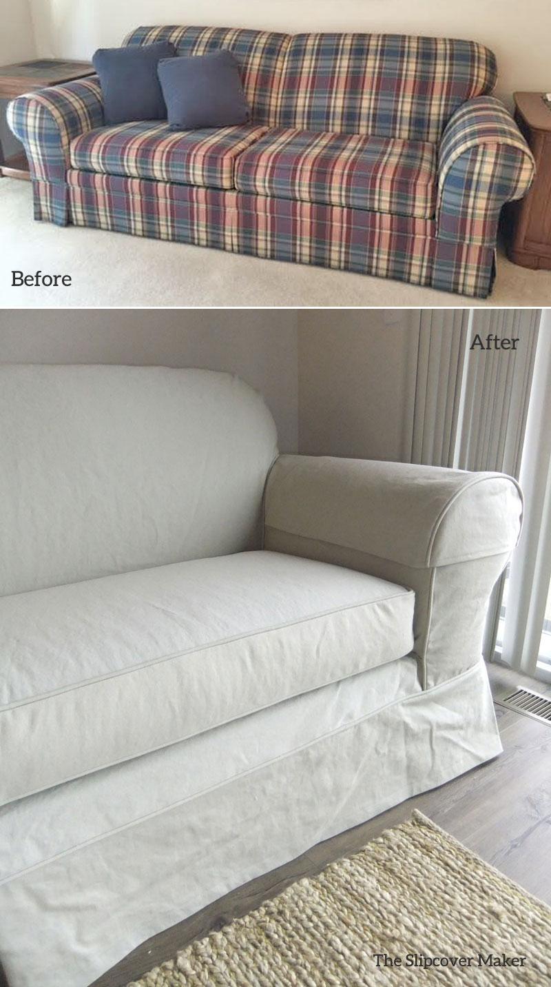 Sleeper Sofa Slipcover in Khaki Denim