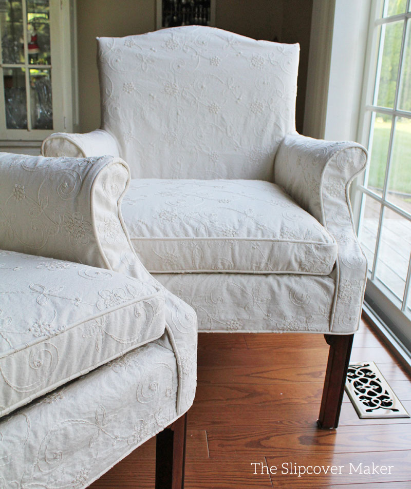 Vintage Dining Chairs with Embroidered Slipcovers