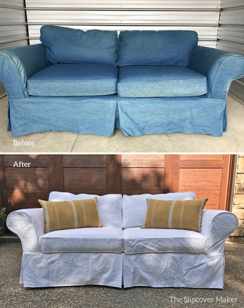 White Cotton Bull Denim Slipcover for Sofa