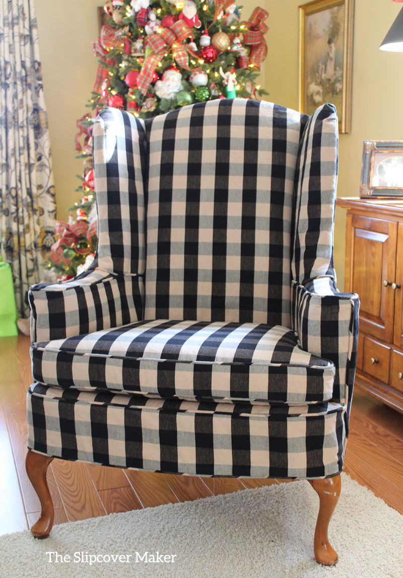 Wing Chair Slipcover in Buffalo Check