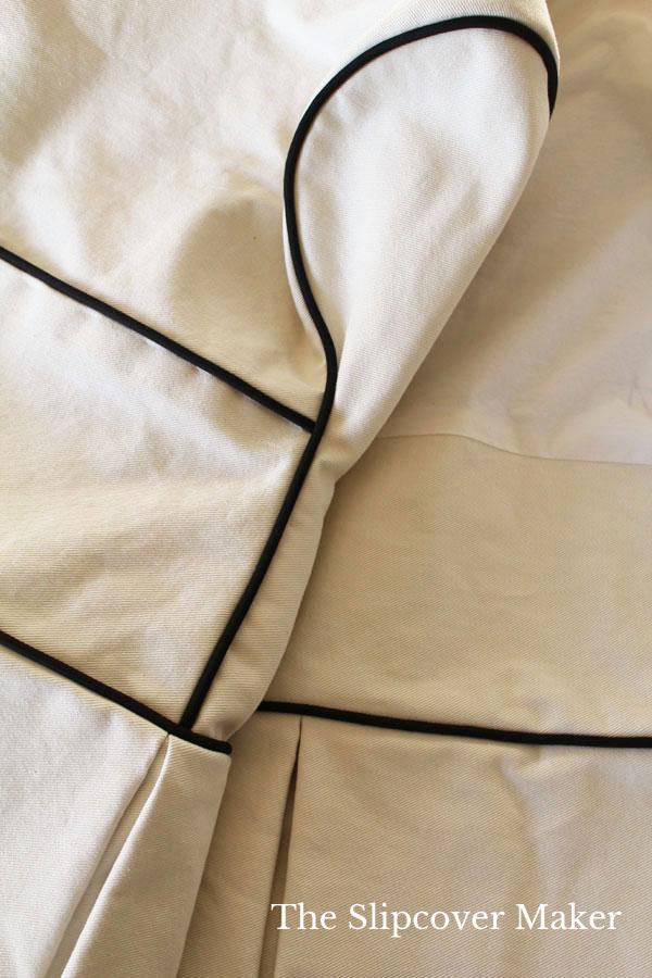 Soft Cream Denim Slipcover with Black Welt Cord