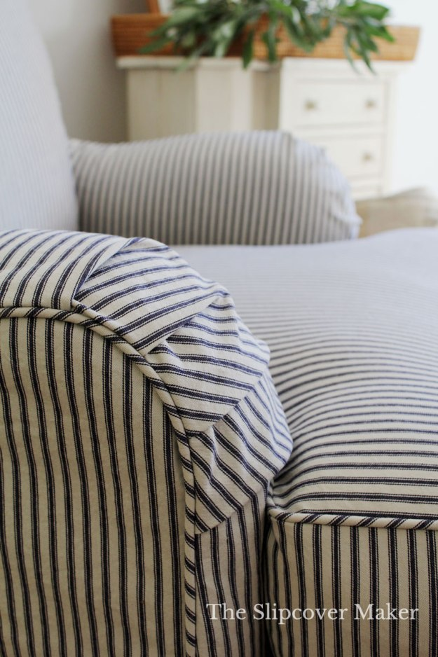 Navy Natural Ticking Custom Slipcover