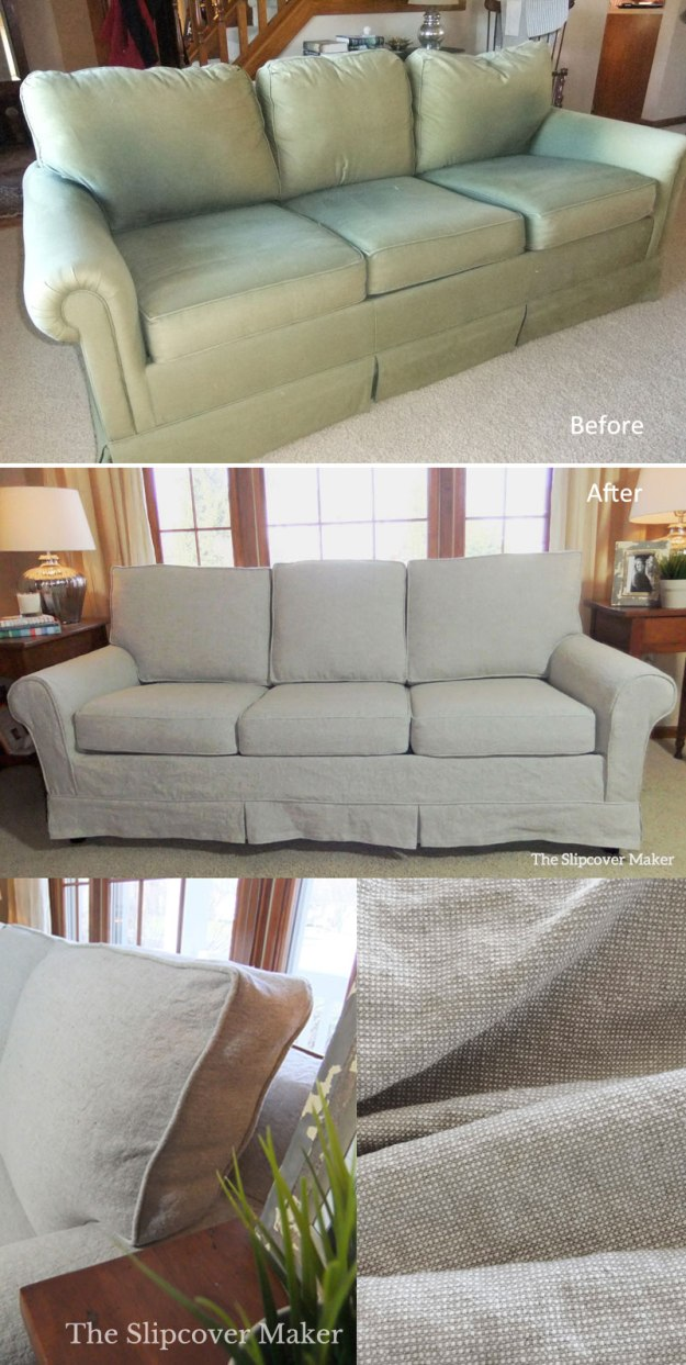 Linen Slipcover for Old Sleeper Sofa