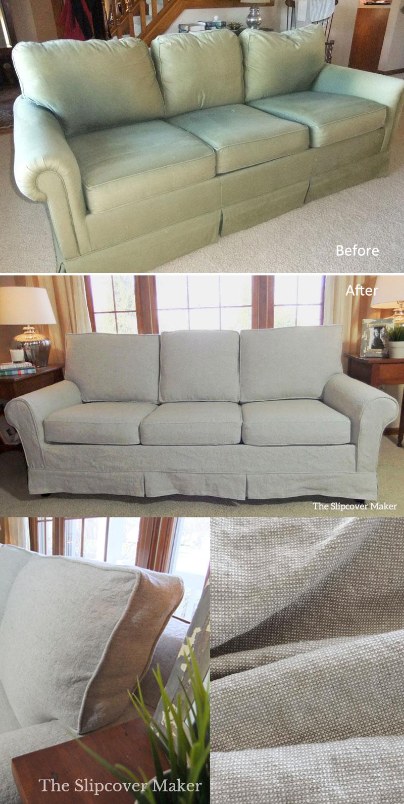 Linen Slipcover for Old Sleeper Sofa