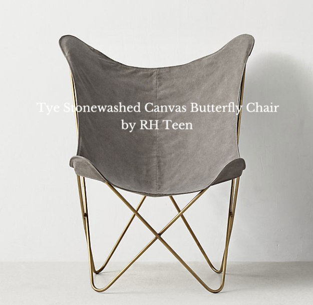 RH Stonewashed Canvas Butterfly Chair