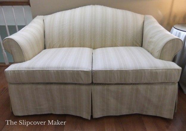 Khaki Awning Stripe Loveseat Slipcover