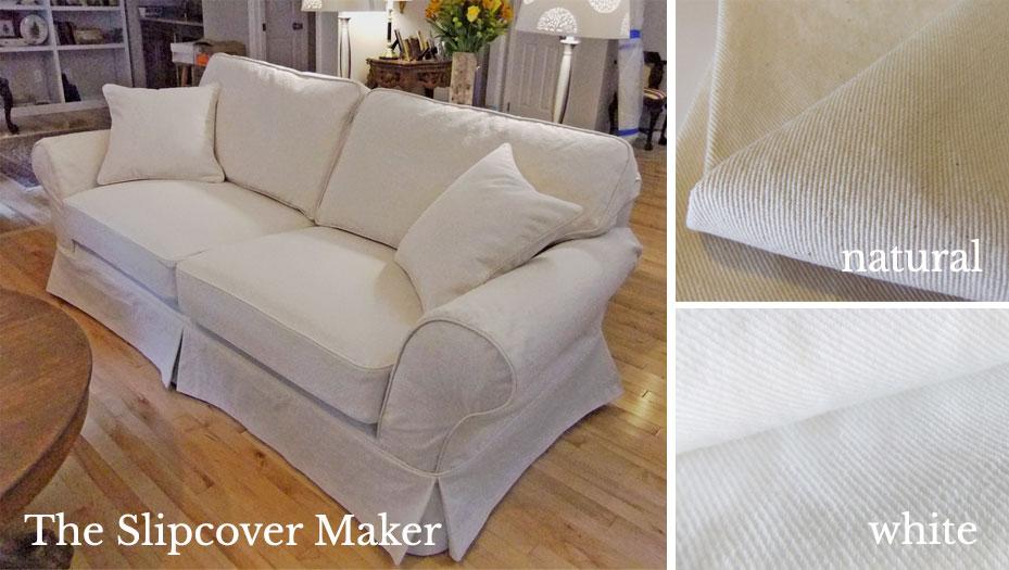 The Slipcover Maker Natural and White Bull Denim Fabrics