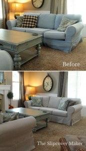 Denim Sofa Makeover with Gray Slipcover