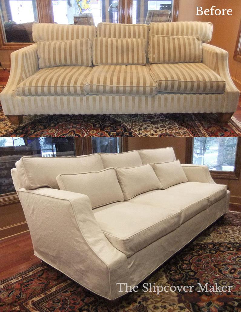 Custom Sofa Slipcover Natural Denim