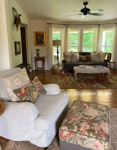 Cottage Style Sofa and Ottoman Slipcovers