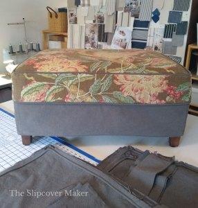 Barkcloth and Canvas Ottoman Slipcover