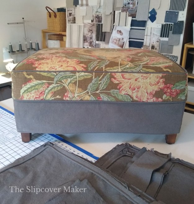 Barkcloth and Canvas Ottoman Slipcover