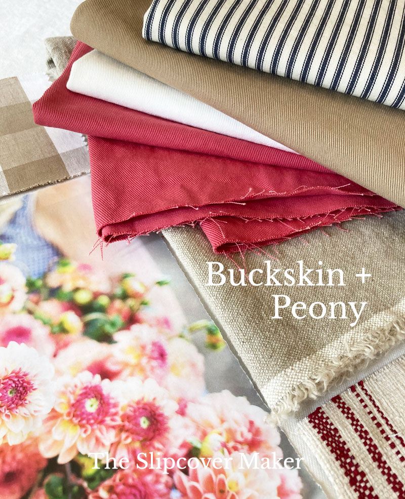 Buckskin and Peony Denim Color Combo for Slipcovers