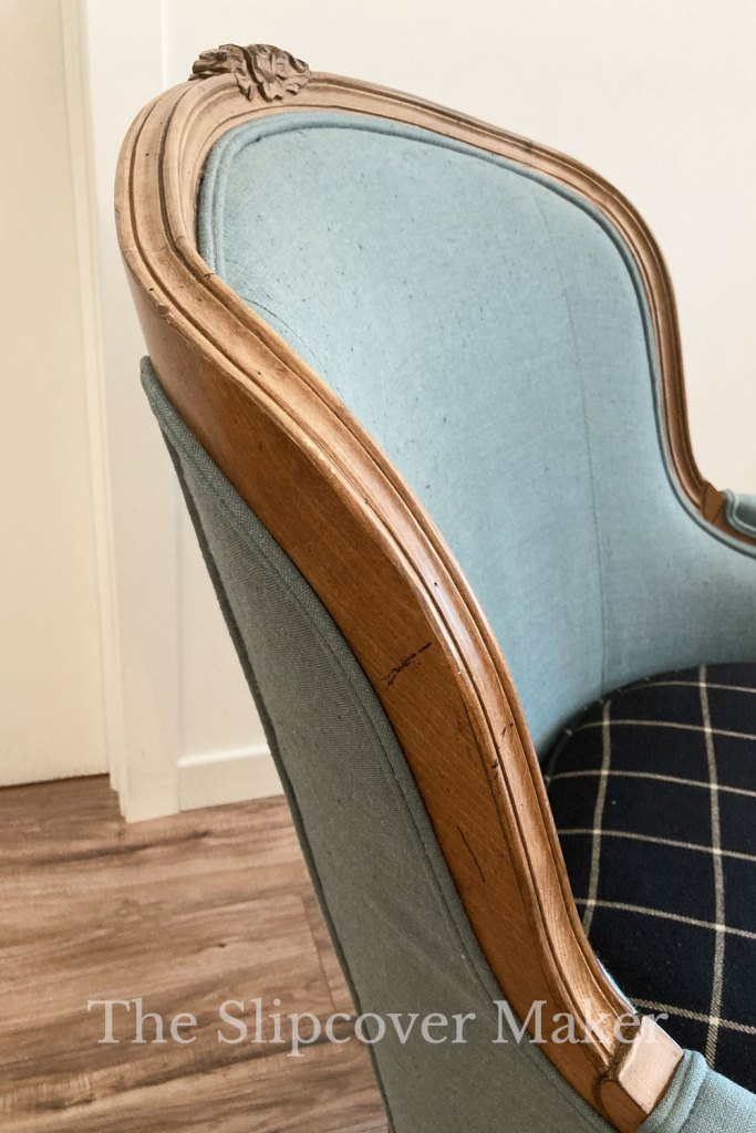 French Chair Exposed Wood Detail