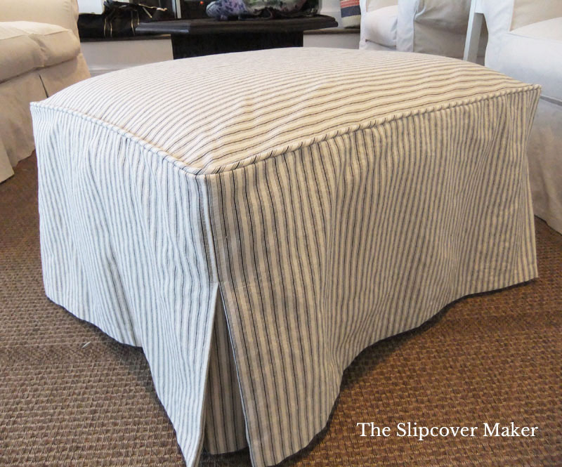 Simple ticking stripe ottoman cover with faux boxing.